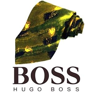 Hugo Boss Floral Made In Italy 100% Silk Tie
